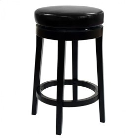 """Mbs-450 26"""" Backless Swivel Barstool in Black Bonded Leather"""