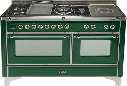 Emerald Green with Chrome trim - Majestic 60-inch Range with French Cooktop