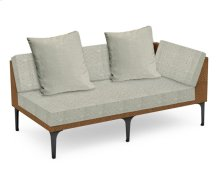 "67"" Tan Rattan Left Two-Seat Sofa Sectional, Upholstered in Standard Outdoor Fabric"