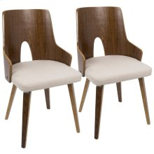 Ariana Chair - Set Of 2 - Walnut Wood, Beige Fabric