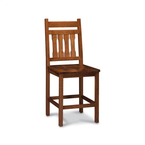 Franklin Stationary Barstool, Wood Seat