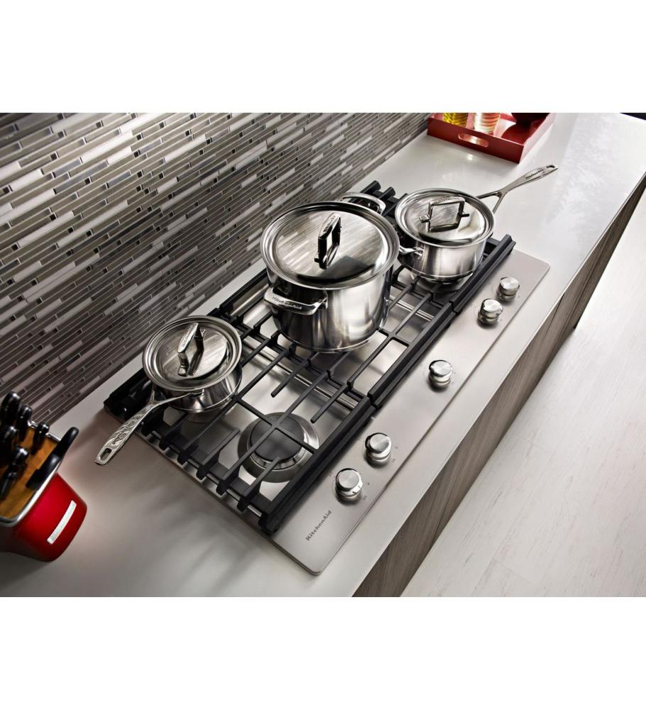 KITCHENAID 30u0027u0027 5 Burner Gas Cooktop With Griddle   Stainless Steel