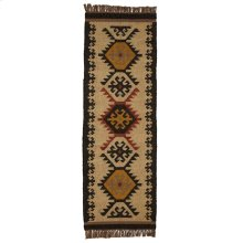 Tan Multi Color Kilim Pattern 2'x6' Rug.