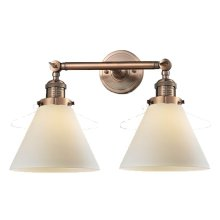 208-AC-G41 - LARGE GLASS CONE 2 LT WALL SCONCE