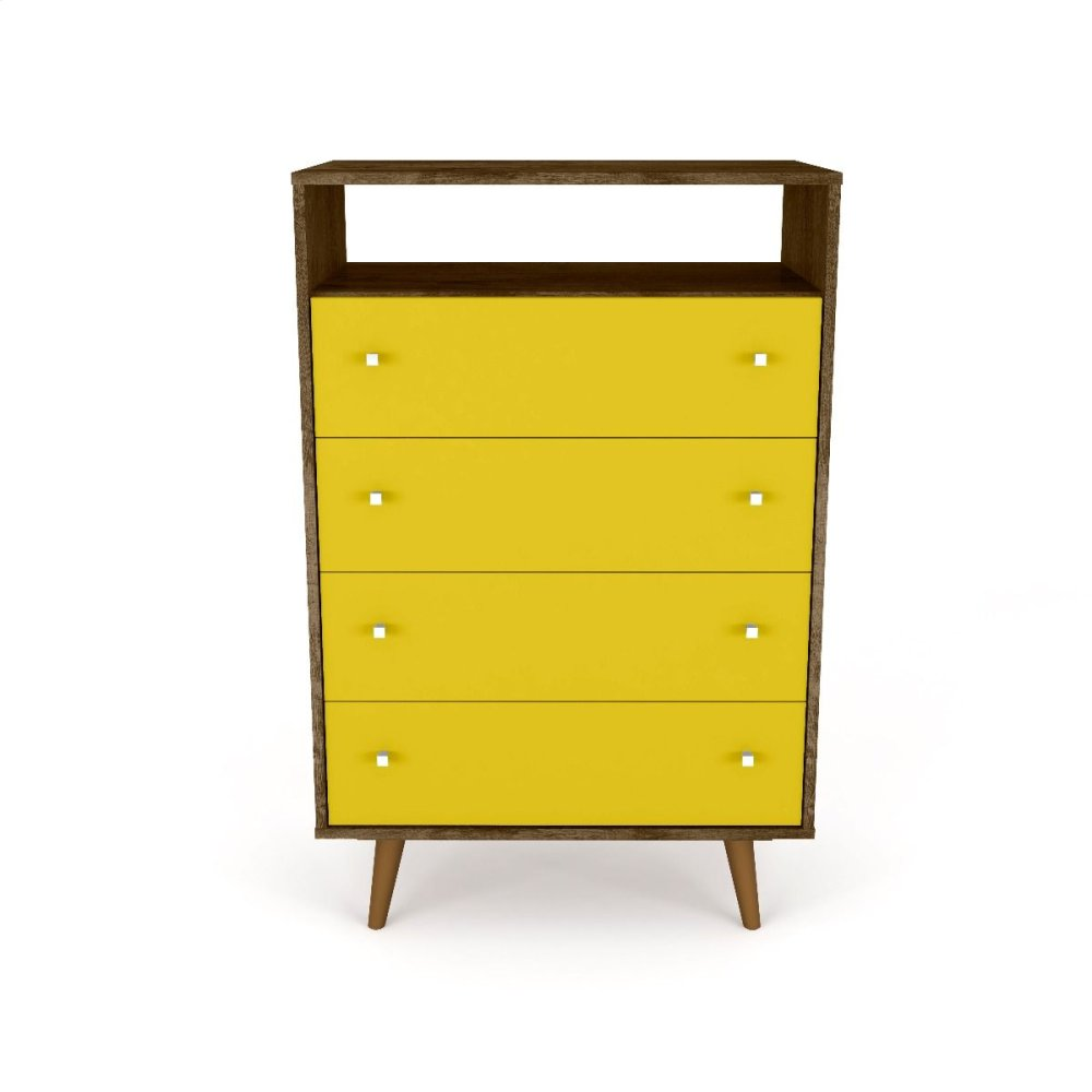 Liberty 4-Drawer Dresser Chest in Rustic Brown and Yellow