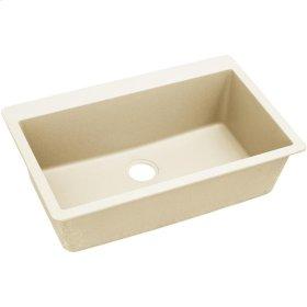 """Elkay Quartz Luxe 33"""" x 20-7/8"""" x 9-7/16"""", Single Bowl Top Mount Sink, Parchment"""