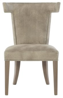 Remy Leather Dining Side Chair in Smoke