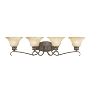 Lancaster 4 Light Bath Vanity in Rubbed Bronze with Antique Marbled Glass