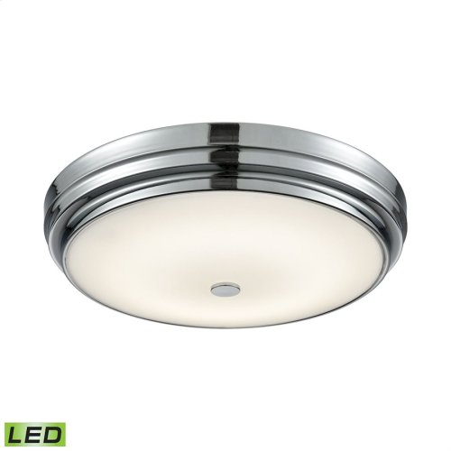Garvey Integrated LED Round Flush Mount in Chrome with Opal Glass - Large