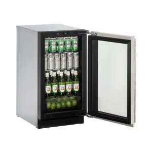 """U-Line Modular 3000 Series 18"""" Glass Door Refrigerator With Stainless Frame (Lock) Finish And Left-Hand Hinged Door Swing (115 Volts / 60 Hz)"""