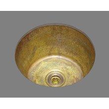 B0300 - Medium Round Bar Sink - Plain Pattern - Antique Brass