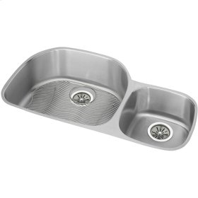 "Elkay Lustertone Classic Stainless Steel 36-1/4"" x 21-1/8"" x 10"", Offset 40/60 Double Bowl Undermount Sink Kit"
