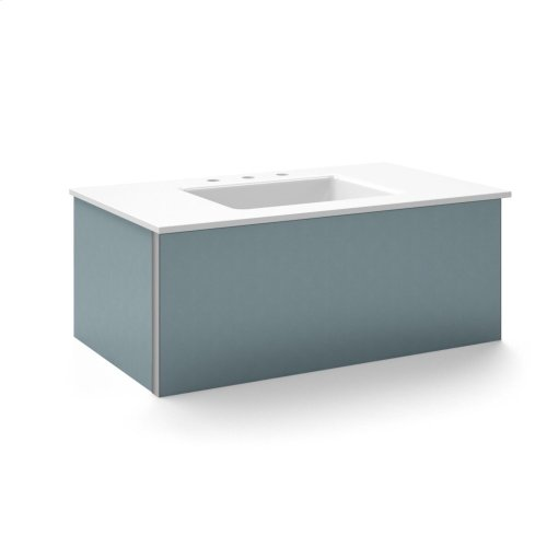 """V14 36-1/4"""" X 14"""" X 21"""" Wall-mount Vanity In Ocean With Slow-close Plumbing Drawer and 37"""" Stone Vanity Top In Quartz White With Center Mount Sink and Single Faucet Hole"""