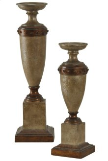 Traditional Pair of Candleholders in Serbia Finish