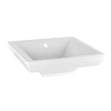 Semi-recessed washbasin sink (White Europe Ceramic) white - 17-11/16 x 2-13/16 high with overflow