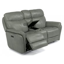 Zoey Leather Power Reclining Loveseat with Console and Power Headrests