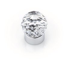 Round Swarovski Crystal Knob, Bright Chrome, 25mm Overall