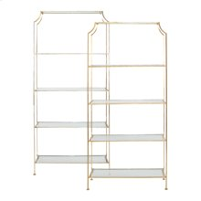 Silver Leafed Etagere With Clear Glass Shelves.