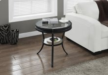 """ACCENT TABLE - 22""""DIA / BLACK WITH TEMPERED GLASS"""