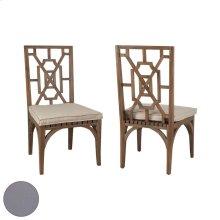 Teak Patio Dining Chair Cushion in Grey