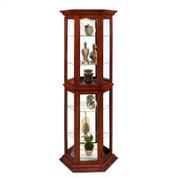 Angled 5 Shelf Mirrored Curio in Warm Cherry Brown Product Image
