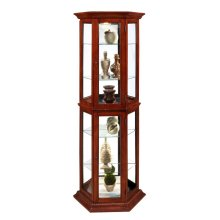 Angled 5 Shelf Mirrored Curio in Warm Cherry Brown