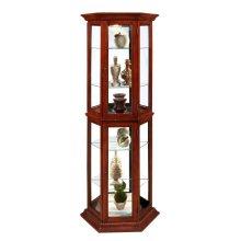 Angled 5 Shelf Mirrored Curio in Warm Cherry Brown