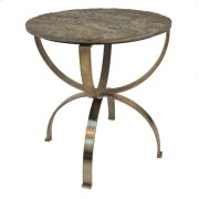Bengal Manor Curved Aged Brass Round Accent Table with Textured Marble Top Product Image