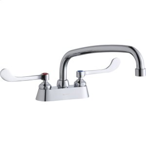 """Elkay 4"""" Centerset with Exposed Deck Faucet with 12"""" Arc Tube Spout 6"""" Wristblade Handles Product Image"""