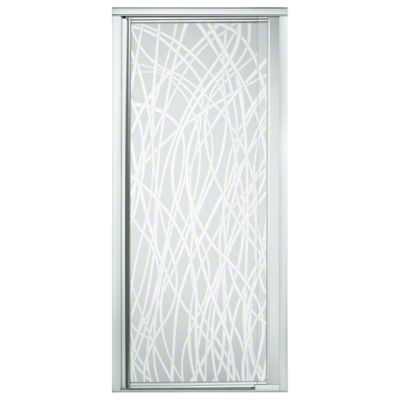 "Vista Pivot™ II Shower Door - Height 65-1/2"", Max. Opening 31-1/4"" - Silver with Tangle Glass Pattern"