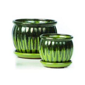 Chaudron Petits Pots w/ attached saucer, Green - Set of 2 (Min 4 sets)