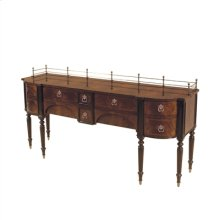 MAHOGANY FINISHED TULIP AND CR OTCH VENEER SIDEBOARD, DARK AN TIQUE PATINA BRASS ACCENTS