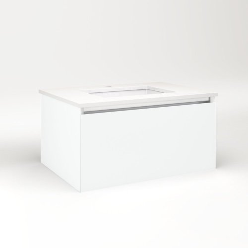 """Cartesian 30-1/8"""" X 15"""" X 21-3/4"""" Single Drawer Vanity In Matte White With Slow-close Plumbing Drawer and No Night Light"""