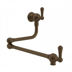 English Bronze Perrin & Rowe Wall Mount Swing Arm Pot Filler with Traditional Metal Lever