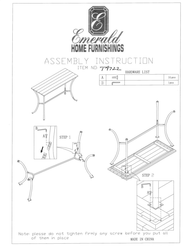 t4722 in by emerald home furnishings in ephrata wa emerald home Brushless Alternator Diagram emerald home innsbruck sofa table medium brown t4722