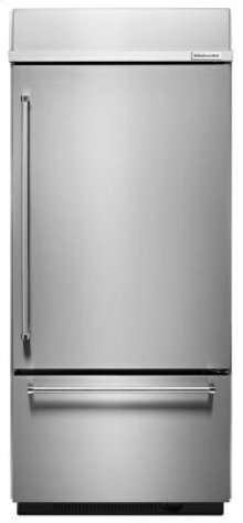 """EDMOND LOCATION ONLY! - 20.9 Cu. Ft. 36"""" Width Built-In Stainless Bottom Mount Refrigerator with Platinum Interior Design - Stainless Steel"""