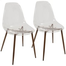 Clara Dining Chair - Set Of 2 - Walnut Metal, Clear Acrylic