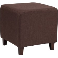 Ascalon Upholstered Ottoman Pouf in Brown Fabric
