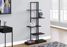 "BOOKCASE - 60""H / BLACK / BLACK METAL"
