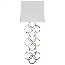 Large Silver Leaf Circles Sconce With White Linen Shade Ul Approved for Two 40w Candelabra Bulbs.