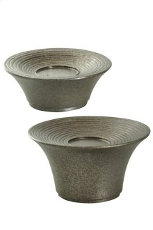 Set of Two Contemporary Candle Holders in Gemini Finish
