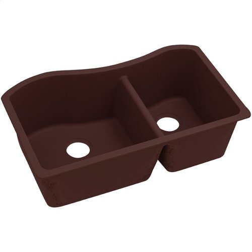 "Elkay Quartz Classic 32-1/2"" x 20"" x 10"", 60/40 Double Bowl Undermount Sink, Pecan"