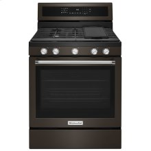 30-Inch 5-Burner Gas Convection Range - Black Stainless Steel with PrintShield™ Finish