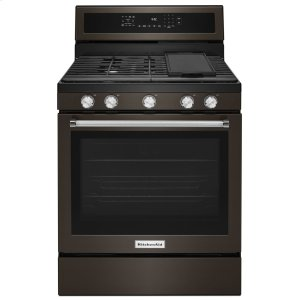 Kitchenaid30-Inch 5-Burner Gas Convection Range - Black Stainless