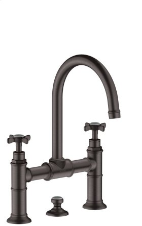 Brushed Black Chrome 2-handle basin mixer 220 with cross handles and pop-up waste set