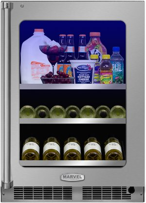 """24"""" Beverage Center with Display Wine Rack - Panel Overlay Frame Ready, Glass Door with Lock - Integrated Left Hinge"""