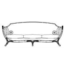Empire Style Sofa (Mahogany/Velvet Calico)