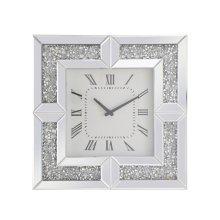 10 inch Square Crystal Wall Clock Silver Royal Cut Crystal