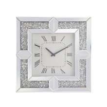 10 inch Square Crystal Wall Clock Silver Royal Cut Crystal