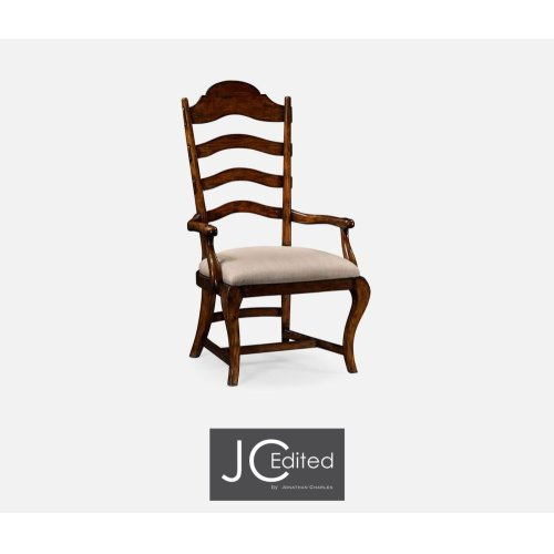 Rustic Walnut Dining Armchair, Upholstered in MAZO